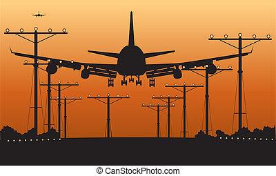 samolot pasażerski, lądowanie, zachód słońca