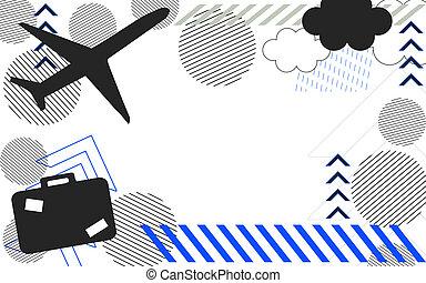 samolot, podróż, lotnisko, tło
