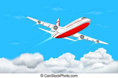 samolot, przelotny, niebo