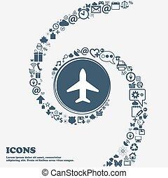 samolot, samolot, podróż, lot, ikona, znak, w, przedimek określony przed rzeczownikami, center., dookoła, przedimek określony przed rzeczownikami, dużo, piękny, symbolika, kręcił, w, niejaki, spiral., ty, może, korzystać, każdy, separately, dla, twój, design., wektor