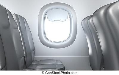 samolot, siedzenia, okno, wewnętrzny