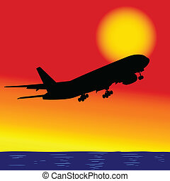 samolot, w locie, na, przedimek określony przed rzeczownikami, ocean