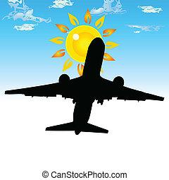 samolot, w, przedimek określony przed rzeczownikami, niebo, wektor