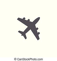 samolot, wektor, białe tło, ikona