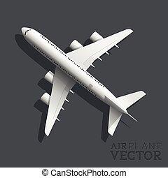 samolot, wektor, górny prospekt