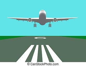 samolot, wektor, lądowanie, ilustracja