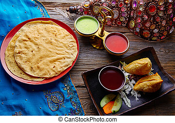Samosas with Papadam red green sauces - Samosa with Papadam ...