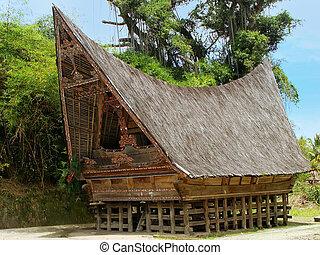 samosir, insel, batak, haus, indonesien, traditionelle ,...