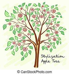samotny, drzewo jabłka, stylizowany, wektor, tajemniczy, fruits.