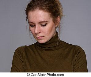 samotny, kobieta, myśli, głęboki, smutny