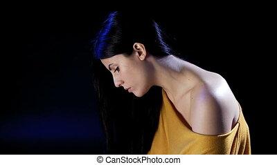 samotny, kobieta, rozpaczliwy, smutny