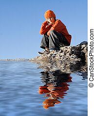 samotny, posiedzenie, przygnębiony, outdoors, smutne...