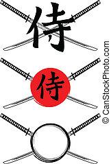 samouraï, épées, hiéroglyphe, traversé