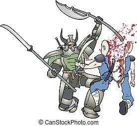 samouraï, baston