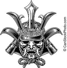 samouraï, casque, shogun, guerrier, japonaise, masque