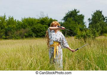 samouraï, girl, épée, portrait