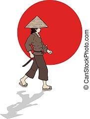samouraï, japonaise, illustration