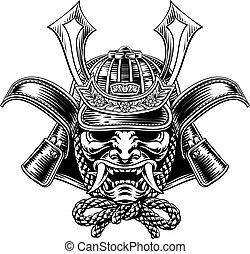 samouraï, japonaise, masque, casque, guerrier, shogun