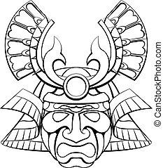 samouraï, masque, casque