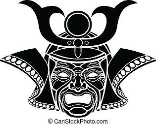 samouraï, masque, effrayant
