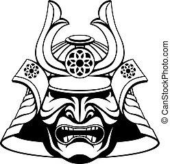 samouraï, masque, stylisé