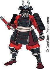 samouraï, noir, guerrier