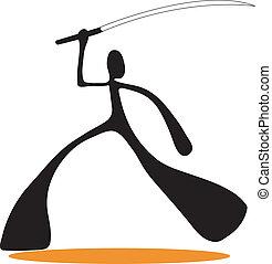 samouraï, ombre, dessin animé, homme