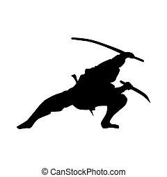 samouraï, silhouette, noir