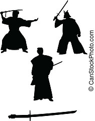samouraï, silhouettes