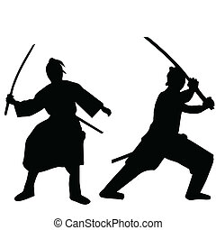 samouraï, silhouettes, noir, deux