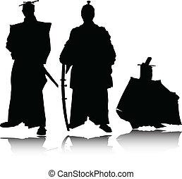 samouraï, silhouettes, vecteur