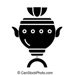 samovar icon, vector illustration, black sign on isolated background