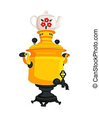 Samovar with Decorated Kettle Vector Illustration