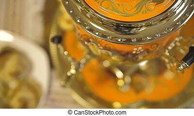 Samovar with tea and pies