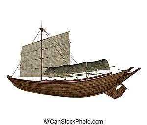 sampan, -, bateau, render, 3d