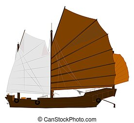 sampan junk over white with large sails