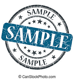 Sample blue grunge round stamp on white background