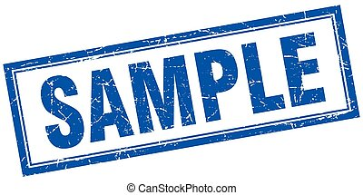 sample blue square grunge stamp on white