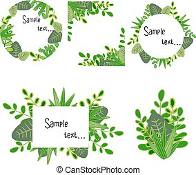 Sample card with hand drawn green leaves and plants with sample text in a frame. Vector illustration