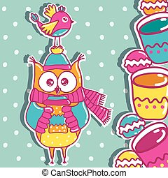 Sample cards with an owl, with cups