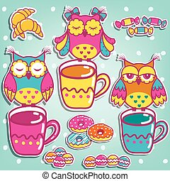 Sample cards with an owls, with cup