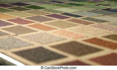 Sample color of roofing material. Different colors of roof...
