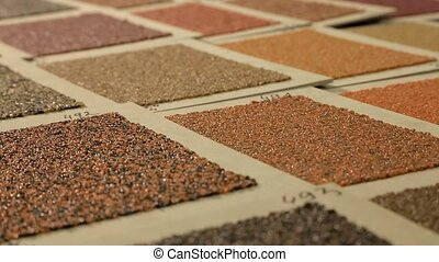 Sample color of roofing material close-up. Different colors...