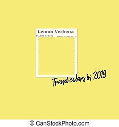 Spring Summer 2019 Color trends. Color swatch for designer - flat vector design. Colour palette - Trend Color Code Lemon Verbena