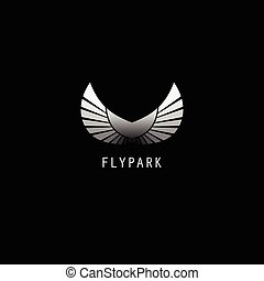 Sample logo design - Abstract black and white wings ...