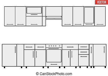 Sample of typical objects for modular kitchens. Flat style elements for design interior configuration. Vector Illustration isolated on white background