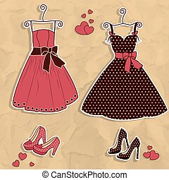 Sample of women's dresses with shoe