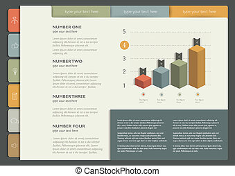Sample print or web page layout. Infographics vector.