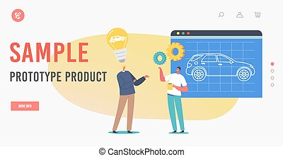 Sample Prototype Product Landing Page Template. Automobile Prototyping Process. Engineers Presenting Project of Auto