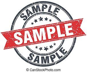 sample red round grunge vintage ribbon stamp
